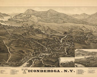 Ticonderoga N Y Panoramic Map dated 1887. This print is a wonderful wall decoration for Den, Office, Man Cave or any wall.