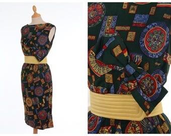Vintage 1960s green mosaic print day dress - size M