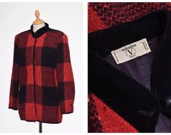 VALENTINO vintage 1980s 1990s plaid tartan wool blanket jacket - size M