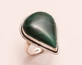 925 Solid Sterling Silver MALACHITE Ring