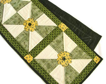 Quilted Table Runner with Appliqued Flowers, Spring Table Runner, Green and Yellow Quilted Runner, Patchwork Table Runner, Quilted Items,
