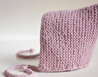 Cap bonnet, Pixie Hat handknitted in 100% cotton