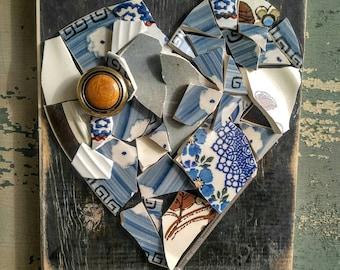 Broken and beautiful Mosaic glass heart wall hanging.