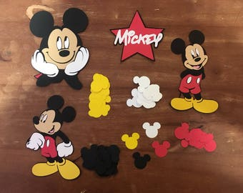 Set of 4 Mickey Character die cuts with 100 pieces of Mickey ears Table Confetti