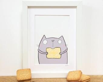 Custard Cream Biscuit Kitty, Framed Print