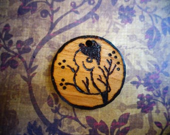 Pyrography Pendant, Owl Pendant, Bird Pendant, Bird in Tree, Woodburned, Handcrafted, Wooden,