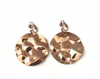 Vintage Copper Hammered Disc Clip Earrings