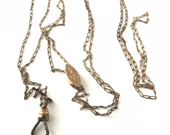 Long Victorian Watch Chain Necklace with Etched Slider