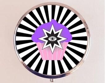 All Seeing Eye Cupcake Pill Box Pillbox Case Holder Stash Box - Occult Illuminati Trippy Psychedelic Kawaii