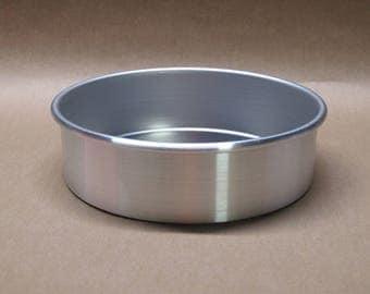"Cake Pan 7"" Inch Aluminum Seamless Hand Spun, Handmade, New, Metal Spinning,"
