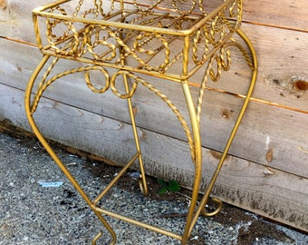 Mid century modern twisted gold toned Plant stand//Buy one get one 1/2 off!
