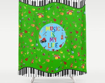 Musical shower curtain-Music lover-Piano Green shower curtain-Pattern-Guitar shower curtain-Cool curtain-Etsy gift-Modern bathroom-Colourful