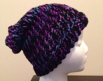 Loom Knitted Slouch Hat - Black, Putple, and Blue