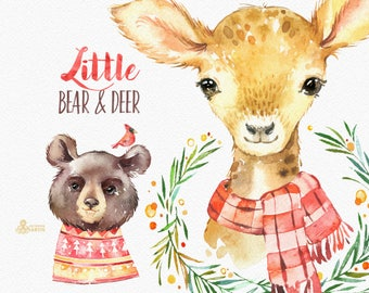 Little Bear & Deer. Watercolor holiday clipart, winter, roe, fawn, Christmas, card, wreath, country, nursery art, nature, realistic, wild