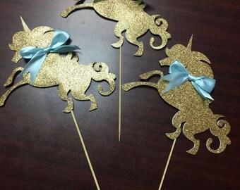 Gold Unicorn Centerpiece Sticks, Unicorn Party, Unicorn Centerpieces