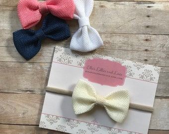 TWO Baby headbands, baby girl headbands, girls hair clips, nylon headbands, newborn headbands, baby hair bow clip, toddler hair bow