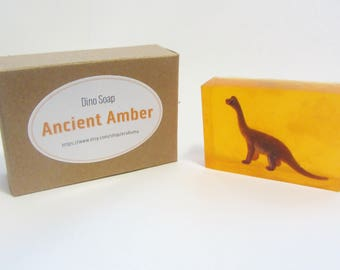 Surprise Dinosaur Toy in Amber Scented Bar Soap