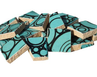 Teal Circles Ceramic Tile