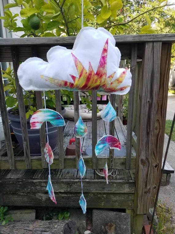 Baby Mobile , Tie Dye Mobile , Sky Mobile , Cloud Mobile , Baby Gift , Nursery Mobile , Baby Wall Hanging , Tie Dye Wall Hanging