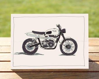 "Motorcycle Gift Card - White Scrambler | A6 - 6"" x 4"" | Motorbike Gift Card"