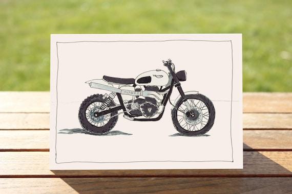 "Motorcycle Gift Card - Triumph Scrambler | A6 - 6"" x 4"" | Motorbike Gift Card"