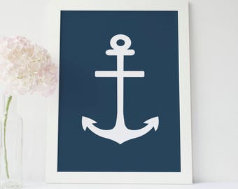 Anchor Artwork, Anchor Art Print, Navy Blue Decor, Nautical Art Prints, Nautical Printables, Navy Artwork, Art Prints Nautical, Art Download