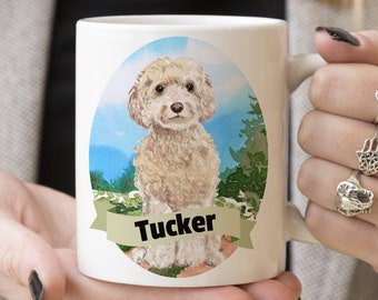 White Cockapoo Custom Dog Mug - Get your dogs name on a mug - Dog Breed Mug - Great gift for dog owner - White Cockapoo mug