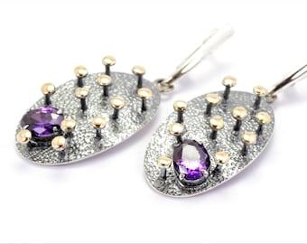 Amethyst earrings silver gold and amethyststone handmade earrings unique gift for women