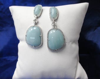 Sterling Silver Amazonite and Cubic Zirconia Dangle Earrings