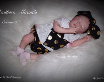 Reborn baby , Realborn Miranda, newly released, cut mouth, Ready to ship