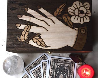 The Lover Hand Burned Tarot box / Altar Box / Witches Toolbox