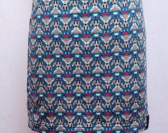 Blue Green Fox patterned Jersey mini skirt