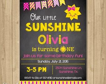 Sunshine Invitation, Sunshine Birthday Invitation, Digital File, You are my sunshine birthday invitation