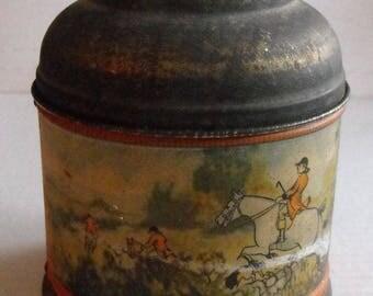 Vintage Tin Humidor With Hunt Scene Drinking Scene Rumidor Brand