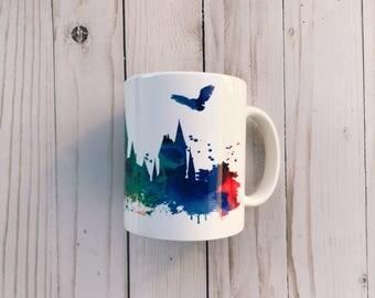 Harry Potter Inspired Watercolor Hogwarts Mug