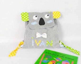 Sac à dos crèche nounou école maternelle Koala Sac enfant personnalisé prénom Ivan gris bleu vert jaune cartable personnalisable  cadeau