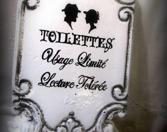 Plaque en terre cuite émaillée : Toilettes Usage limité...