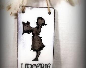 Plaque en lave émaillée : silhouette lingerie