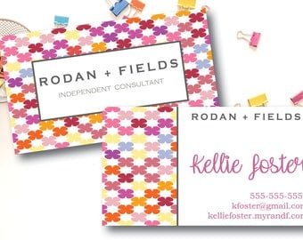 Rodan and Fields Business Cards / Rodan + Fields / RF / Floral Design / Printed or Digital File / Two Sided Business Card