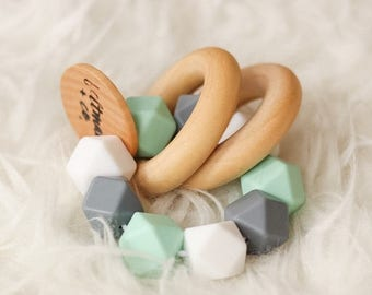 SUMMER SALE Wooden Teethers Infant Rattles Tula Teether Wooden Rattle Silicone Teether Silicone Rattle Double Ring Teether Silicone Bead Tee