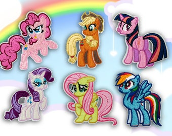 My Little Pony Cartoon Characters Iron on Patch(L2) - Pinkie Pie, Twilight Sparkle, Cartoon Characters Applique Embroidered Iron on Patch