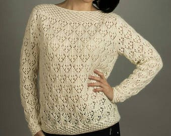 Cream lace knitted Womens sweater Knitted sweater Openwork sweater