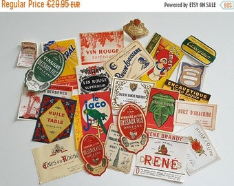 10 % SALE Set of 23 vintage French labels  Advertising tags. Unused. No reprint.