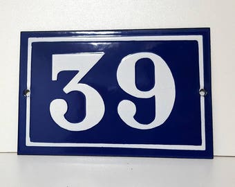 Old French enamel house number SIGN Door street address gate PLATE PLAQUE Enamel steel metal 39 Blue