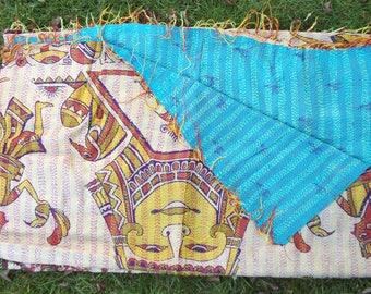 Unique Reversible Handmade Kantha Stitch Fringed Scarf/Wrap/Shawl/Head Wrap Vintage Fabric Upcycled