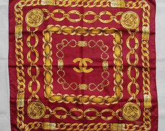 Vintage Chanel satin scarf Gold chain link, in a good condition. Not hermes fendi versace