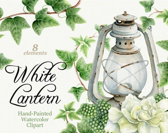 White Lantern. Watercolor clipart. Hand painted watercolor clipart.