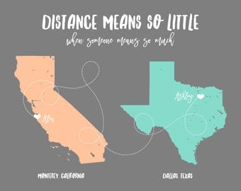 Foreign Exchange Student Long Distance Gift Long Distance Family Long Distance Map Long Distance Personalized Gift Unique Birthday Gift Art
