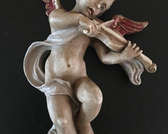 """Vintage Angel Playing Violin 7""""H with Hanger, Italy"""