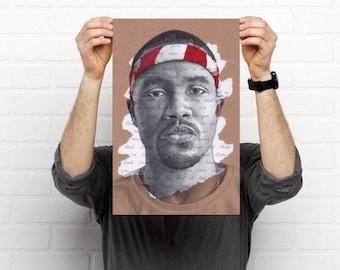 FRANK OCEAN POSTER - Portrait Art Print Pen Drawing Thinkin' bout you lyrics
